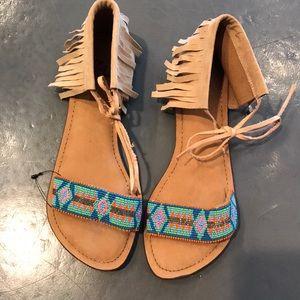 Z & L Beaded and Fringe Sandal